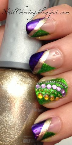 "Nail ""Cher""ing: Mardi Gras French and Beaded Accent"