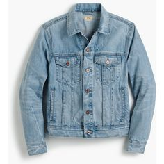 J.Crew Denim jacket in light wash ($118) ❤ liked on Polyvore featuring men's fashion, men's clothing, men's outerwear, men's jackets, men's stand collar jacket, j crew men's jackets, j crew men's outerwear and american eagle mens jackets