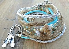 Triple Wrap Sea Shell Leather and Hemp Bracelet. Perfect for the beach!  by AllStrungOut925 on Etsy