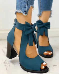 Peep Toe Mesh Insert Bowknot Chunky Heeled Sandals Women watches unique and beautiful Platform Stilettos, Pumps Heels, Stiletto Heels, High Heels, Heeled Sandals, Shoes Sandals, Sandal Heels, Peep Toe Heels, Trend Fashion
