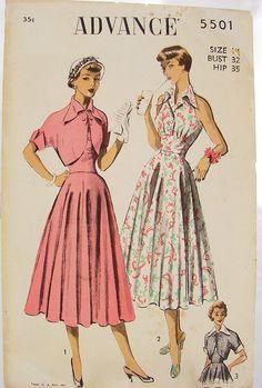 50s Advance 5501 Full Circle Skirt Halter Dress.jpg