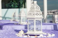 Moroccan lantern centerpieces with seashells, wedding centerpieces, table centerpieces
