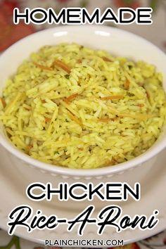 Homemade Chicken Rice-A-Roni - Plain Chicken - Homemade Chicken Rice-A-Roni Recipe – you'll never use the boxed stuff again! Chicken And Rice A Roni Recipe, Chicken Rice Recipes, Side Dishes For Chicken, Rice Side Dishes, Dinner Side Dishes, Pasta Dishes, Food Dishes, Chicken Sides, Rice Meals