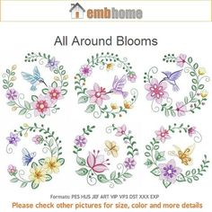All Around Blooms Machine Embroidery Designs Instant Download 4x4 5x5 6x6 hoop 10 designs APE2180