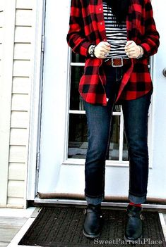 Sweet Parrish Place Style- Red buffalo check with skinny jeans and black and white stripes.  Red socks with black booties.  #teacherstyle #realmomstyle