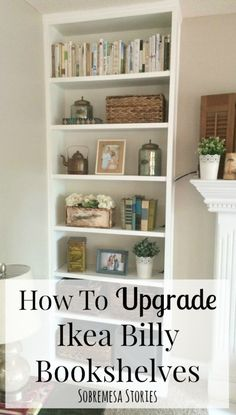 If you're wondering how to upgrade Ikea Billy bookshelves to make them look like built-ins, this post has five great and practical tips! Ikea Billy Bookcase Hack, Ikea Shelves, Ikea Storage, Built In Bookcase, Bookshelves Ikea, Billy Bookcase With Doors, Billy Bookcases, Record Storage, Billy Regal Upcycling