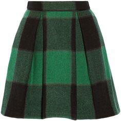Buffalo plaid stretch-wool mini skirt