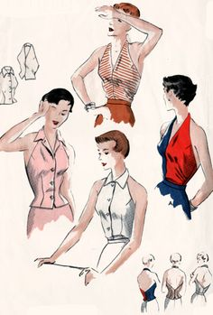 1950s Halter Tops Vogue 7080 Two StyleVintage ROCKABILLY 50s Sewing Pattern Size 14 Bust 32 by sandritocat on Etsy