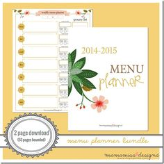 2014-2015 MID YEAR Menu Planner | @mamamissblog #bloggertools #organize #midyearplanner