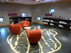 Love the use of a floor design  to add interest  http://modelprogrammer.kulturstyrelsen.dk/en/cases-for-inspiration/case-bibliotheek-floriande/#.Us7Ajl_naM8
