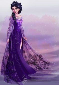 Evil/antagonist Elsa. Oooo yeeessss I love black with purple *-*