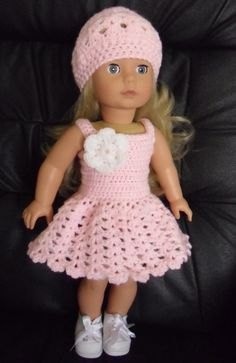 PDF Crochet pattern for summer dress and hat for 18 inch American Girl Gotz doll 18 inch doll