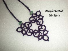 Purple Tatted Celtic Necklace with Green Bead- Ready to Ship Item
