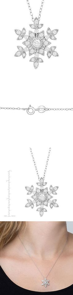 Gemstone 164332: 1 Ct Created White Sapphire Snowflake Pendant In Sterling Silver -> BUY IT NOW ONLY: $30.0 on eBay!