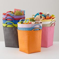 The Land of Nod | Kids' Storage Containers: Kids Colorful Woven Floor Storage Baskets in Floor Storage