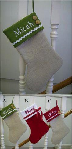 cf4d249d5d877 One burlap linen Christmas stocking.