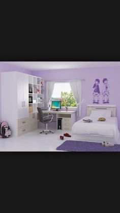 Beautiful bedroom for a 9-12 year old girl very purple great design
