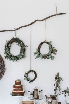 Wreath decorations for the holidays.