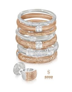 SOHO introduces its Rose collection. Handcrafted in Italy, these sterling silver, enamel and diamond pieces are inlayed with gold leaf. Enamel Jewelry, Jewellery, Arm Party, Silver Enamel, Gold Leaf, Soho, Jewelry Stores, Romance, Bangles