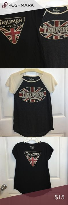 (2) Triumph tshirts by LUCKY BRAND Very soft. The black one flares at the bottom. The black is a small and the grey an xs Lucky Brand Tops Tees - Short Sleeve