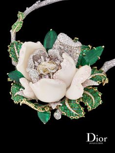 "Dior Joaillerie ""Bal de Mai"" necklace in white and yellow gold with white and colored diamonds, pink opal and emeralds. Le Bal des Roses collection."