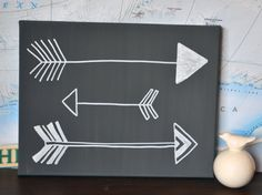 Gray or Custom Color Arrow Canvas Painting Hand Painted Modern Eclectic Charcoal & White Bow and Arrow Nursery Gallery Wall Art Wall Hanging...