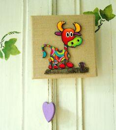 """Tableau décoratif d""""Hermine"""" la petite vache : Décorations murales par sylphide"""