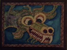 Another Chinese dragon.  This is what happens when I get my hands on a wood burner and some water colors.
