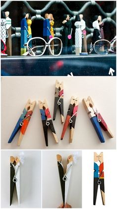 DIY and Inspiration: Kissing Clothespins. Photos Top to Bottom: Kissing Clothespins in Paris, used with the permission of Grace Trivino of Grace Photography here. Etsy Kissing Clothespins - no lo Fun Crafts, Diy And Crafts, Crafts For Kids, Arts And Crafts, Clothespin Art, Deco Kids, Clothes Pegs, Idee Diy, Diy Gifts