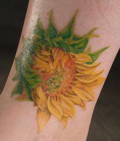 Sunflower tattoo by captainmonkeypants.deviantart.com on @DeviantArt
