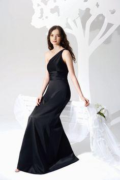 One Shoulder Black Modest Bridesmaid Dress Floor Length