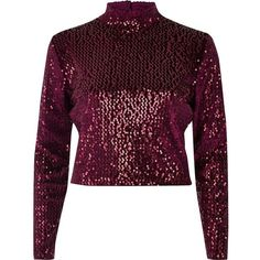 River Island Burgundy sequin turtleneck crop top (1.535 RUB) ❤ liked on Polyvore featuring tops, crop tops, long sleeve tops, shirts, river island, sale, women, purple sequin top, purple crop top and burgundy long sleeve shirt