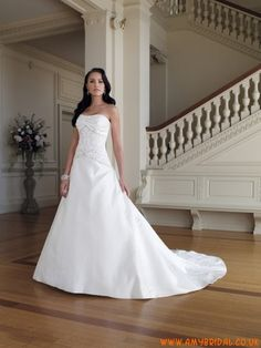 2011 Cheap A-line design beaded Emborider pleated satin Chapel Train Wedding dress