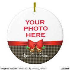 Shepherd Scottish Tartan Christmas Photo Double-Sided Ceramic Round Christmas Ornament