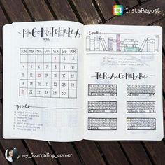 Bullet Journal monthly spread. @my_journaling_corner on Instagram