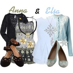 """Anna & Elsa from Frozen ~ Rompers"" by liesle on Polyvore"