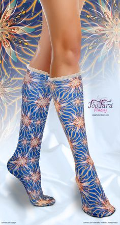 "♥ These cute, colorful, elegant, socks, are made with a soft and silky lightweight technical fabric that is moisture wicking and offers U.V. protection. ""Mystic Flowers"" print.♥"