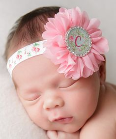Pink Rosette Initial Headband #zulily #zulilyfinds