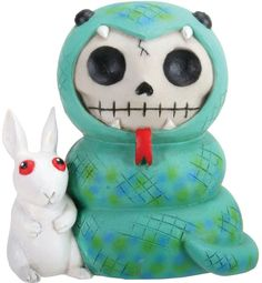 """Amazon.com: Custom & Unique {3.5"""" x 2.5"""" Inch} 1 Single Small, Home & Garden """"Standing"""" Figurine Decoration Made of Resin w/ Edgy Children's Spooky Skeleton w/ Snake Costumer & Bunny Style {Assorted Color}: Home & Kitchen"""