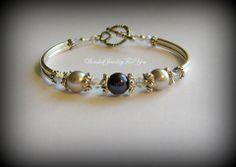 Wedding Bracelet  Silver and Midnight Blue by beadedjewelryforyou, $26.99