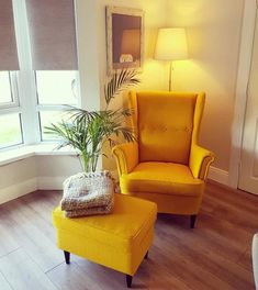 Small Armchair For Bedroom Living Room Yellow Accents, Mustard Living Rooms, Accent Chairs For Living Room, Living Room Grey, Living Room Chairs, Home Living Room, Living Room Designs, Living Room Decor, Yellow Room Decor