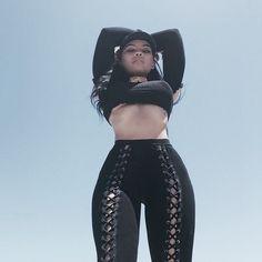 Pinterest: •Linell•  Black lace up leggings.