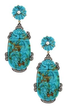 Angelique de Paris Carved Persian Turquoise & Diamond Drop Earrings