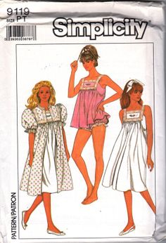 Simplicity 9119 1980s Misses Pattern Lacy Nightgown Robe Baby Doll Pajamas Womens Vintage Sewing Pattern Size Petite 6 8 Bust 30 - 31 UNCUT