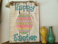 Primitive Happy Easter sign