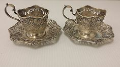 Antique Sterling Silver Tea Cup Sets Stamped Made for Tiffany Co Sterling