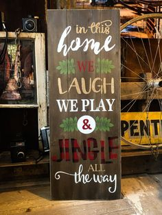 In This Home We Jingle All the Way Christmas Sign – Handwerk und Basteln Diy Christmas Lights, Christmas Signs Wood, Christmas Door, Outdoor Christmas Decorations, Christmas Time, Christmas Wreaths, Christmas Ornaments, Christmas Vacation, Christmas Music