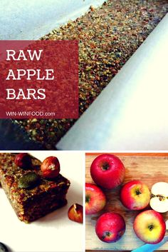 Raw Apple Bars | WIN-WINFOOD.com  Filling healthy snack, very juicy thanks to the apples! #vegan