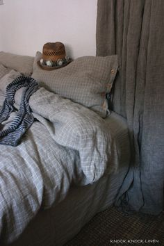 "Linen Bedding | beautiful ""plaid"" pattern"