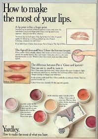 I had a few pots before they went away. i can still imagine my lip brush, but if really stuck, you just used a finger! the fragrance was absolutely yummy! Yardley Pot o'Gloss Brandy was my favourite. Vintage Makeup Ads, Vintage Beauty, Vintage Ads, Vintage Trends, Vintage Vanity, Vintage Magazines, Vintage Designs, Vintage Style, Lip Brush